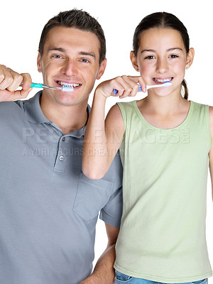 Buy stock photo Portrait of a young man brushing with his daugther against white background
