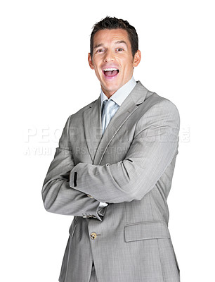 Buy stock photo Portrait of an excited young male entrepreneur shouting against white background
