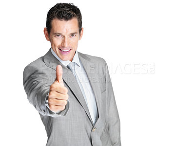 Buy stock photo Portrait of a smiling young male entrepreneur showing thumbs up sign against white background