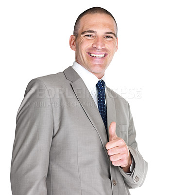 Buy stock photo Portrait of a happy young business man showing thumbs up sign against white background