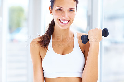 Buy stock photo Portrait of happy young beautiful woman during fitness time and exercising lifting dumbbells