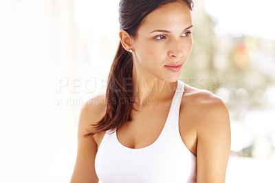 Buy stock photo Portrait of gorgeous young woman looking away in thought - Copyspace