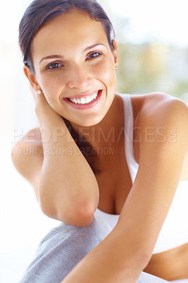 Buy stock photo Portrait of pretty young female in sportswear and smiling