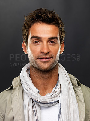 Buy stock photo Closeup portrait of young man smiling on black background