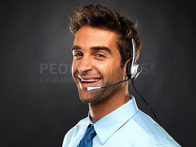 Buy stock photo Closeup portrait of customer care representative smiling on black background