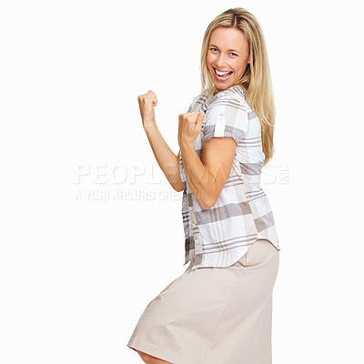 Buy stock photo Portrait of excited business woman celebrating success with clenched fists on white background