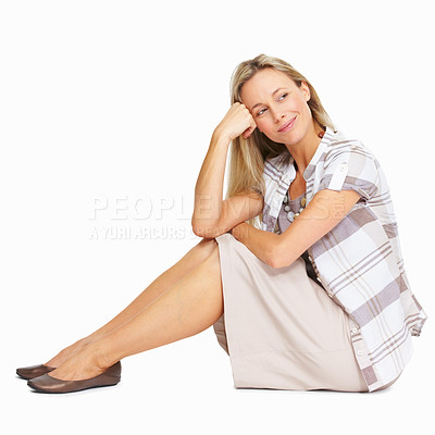 Buy stock photo Full length of confident mature business woman sitting over white background
