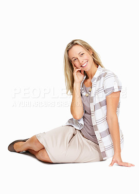 Buy stock photo Full length of beautiful and confident business woman sitting on white background