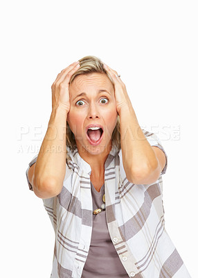 Buy stock photo Mature business woman with surprise expression on face over white background