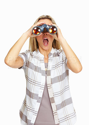 Buy stock photo Shocked mature business woman looking through binoculars on white background