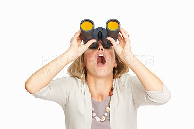 Buy stock photo Surprised business woman looking up through binoculars on white background
