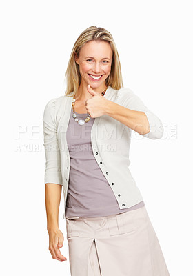 Buy stock photo Smiling business woman gesturing thumbs up on white background