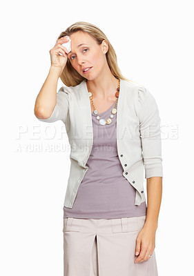 Buy stock photo Portrait of tired business woman with big headache over white background