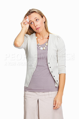 Buy stock photo Stressed out business woman having headache on white background