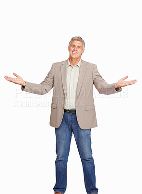 Buy stock photo Studio shot of an approachable mature man against a white background
