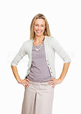 Buy stock photo Confident business woman smiling on white background