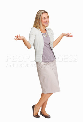 Buy stock photo Full length of attractive business woman making do not know sign isolated