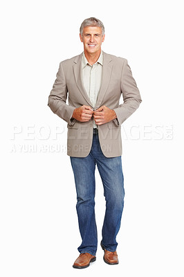 Buy stock photo Studio shot of a confident mature man against a white background