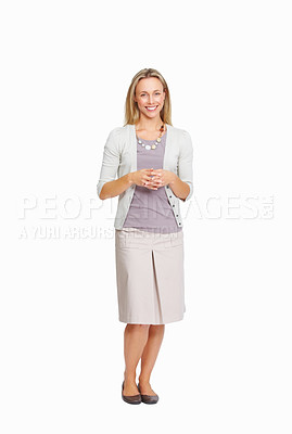 Buy stock photo Full length of attractive business woman with hands clasped on white background