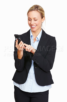 Buy stock photo Portrait of beautiful business woman dialing number on cell phone over white background