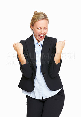 Buy stock photo Portrait of successful and happy business woman on white background