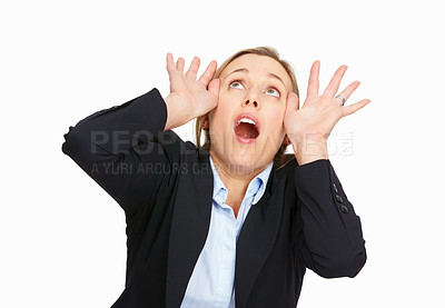 Buy stock photo Portrait of worried business woman scared and looking upwards on white background