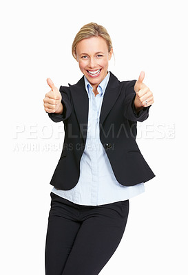 Buy stock photo Portrait of business woman smiling while giving thumbs up on white background
