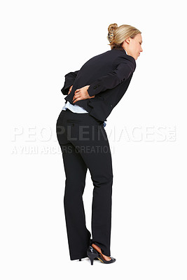 Buy stock photo Full length of business woman with backache on white background