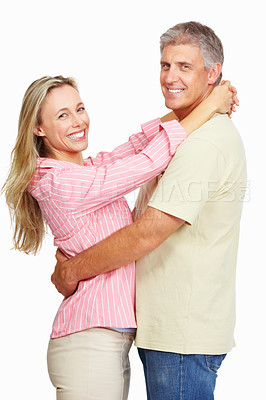 Buy stock photo Portrait of happy mature couple embracing over white background