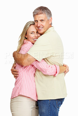 Buy stock photo Portrait of cute mature couple hugging each other over white background