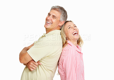 Buy stock photo Portrait of cheerful mature couple having happy time together over white background