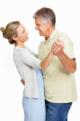 Buy stock photo Portrait of mature man having dance with beautiful woman on white background