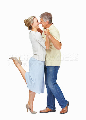 Buy stock photo Full length of mature couple spending happy time together over white background