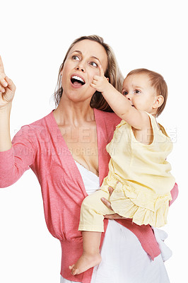 Buy stock photo Portrait of mother and child playing on white background