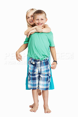Buy stock photo Full length of young children having fun together on white background