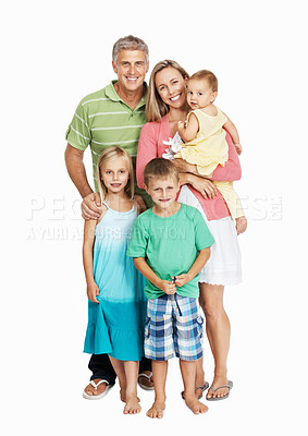 Buy stock photo Full length portrait of happy family standing together isolated over white background