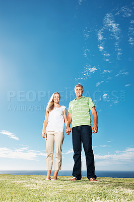 Buy stock photo Full length of Caucasian mature couple standing at park