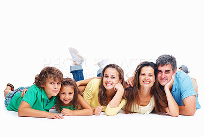 Buy stock photo Happy parents with kids lying on floor isolated on white background