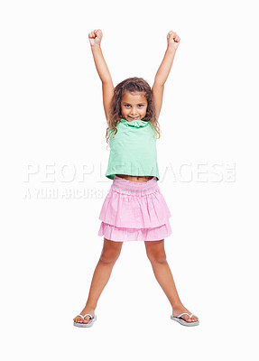 Buy stock photo Full length of a cute little girl raising hands isolated on white background