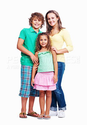 Buy stock photo Full length of happy children standing in studio on white background