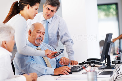 Buy stock photo Business woman making calculation during corporate meeting