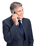 Happy mature businessman talking on cellphone