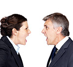 Mature businessman and woman yelling at each other