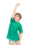 Hooray -  Excited little boy raising his hand on white background