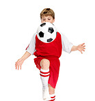 Soccer traning - Young footballer practising with a ball