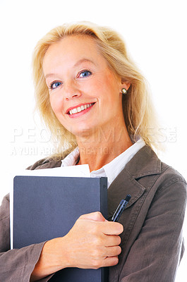Buy stock photo Portrait of a mature businesswoman holding a file isolated on white