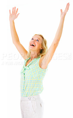 Buy stock photo Studio shot of a mature woman with her arms raised above her head isolated on white