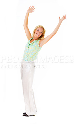 Buy stock photo Full length studio shot of a mature woman with her arms raised above her head isolated on white