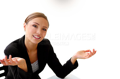 Buy stock photo Portrait of a smiling young businesswoman shrugging