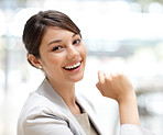 Cute young business woman smiling